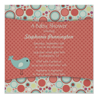 Retro whimsical polka dots baby shower invitation