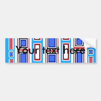 Retro white blue and red rectangle pattern car bumper sticker
