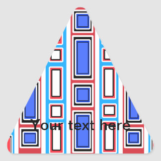 Retro white blue and red rectangle pattern triangle sticker