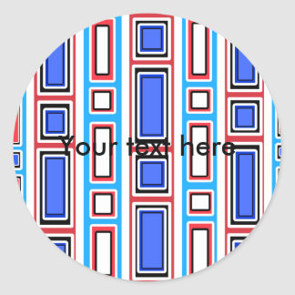 Retro white blue and red rectangle pattern classic round sticker