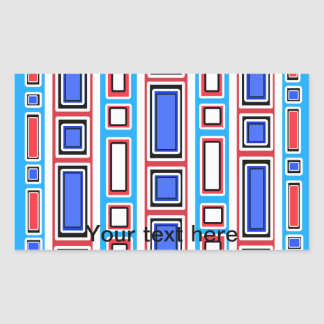Retro white blue and red rectangle pattern rectangular sticker
