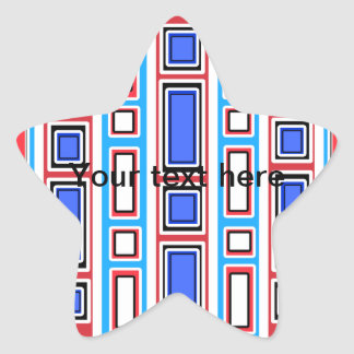 Retro white blue and red rectangle pattern star sticker