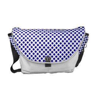 Retro White Blue Polka Dots Pattern Messenger Bag