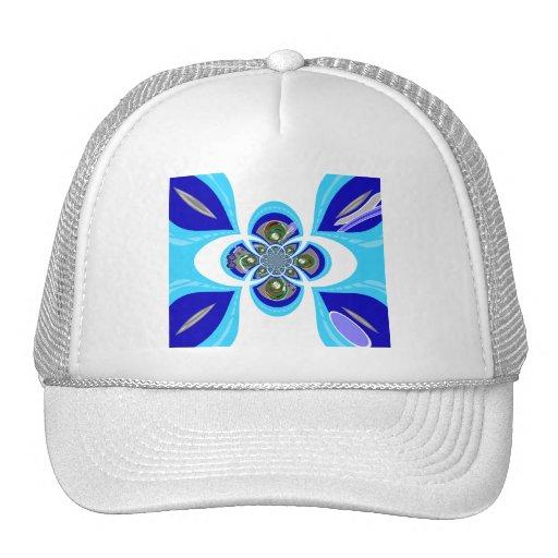 Retro white blue turntable design trucker hat