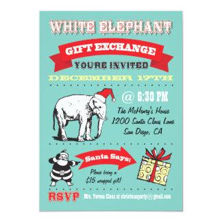 "Retro White Elephant Christmas Party Invitations 5"" X 7"" Invitation Card"