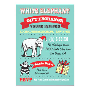 retro white elephant christmas party invitations - White Elephant Christmas Party