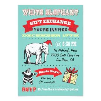 Retro White Elephant Christmas Party Invitations
