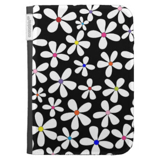 Retro White Flowers with Beautiful Colors Cases For The Kindle