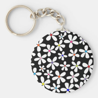 Retro White Flowers with Beautiful Colors Keychain