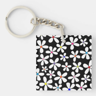 Retro White Flowers with Beautiful Colors Acrylic Keychains