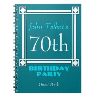 Retro White Frame 70th Birthday Guest Book Spiral Notebook