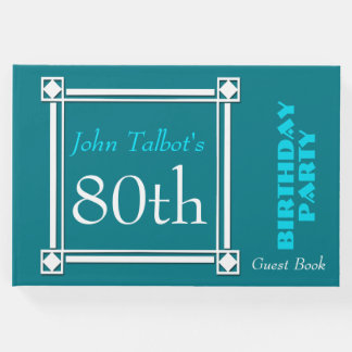 Retro White Frame 80th Birthday Guest Book