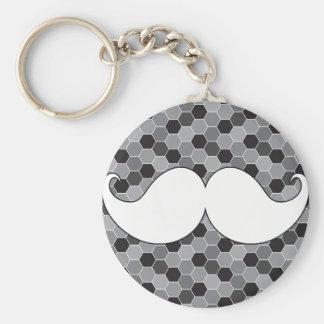 Retro White Handlebar Mustache Moustache Keychains