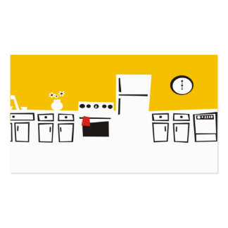 Retro white kitchen cooking culinary business card