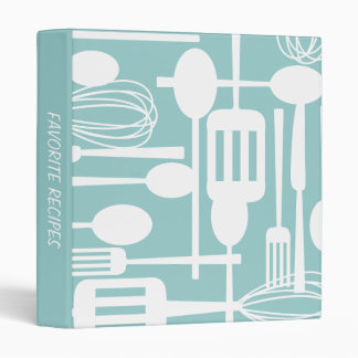 Retro White Kitchen Cooking Utensils Recipe Binder