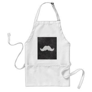 Retro White Mustache on Grunge Background Adult Apron