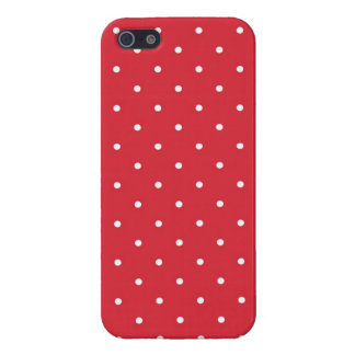 Retro white polka dots on red background iPhone 5 case