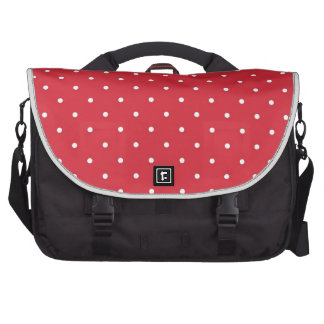 Retro white polka dots on red background laptop commuter bag