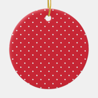 Retro white polka dots on red background christmas ornaments