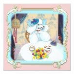 Retro White Poodle Cupcake Tea Party Invitation