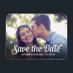 "Retro White Script Save The Date Full Bleed Photo Magnet<br><div class=""desc""></div>"
