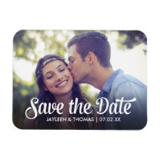 Retro White Script Save The Date Full Bleed Photo Magnet at Zazzle