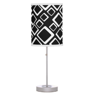 Retro White Squares On Black Table Lamp