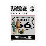 Retro Williams Arizona Route 66 Vintage Road Trip Postage Stamps
