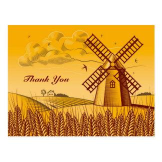 Retro Windmill Post Card