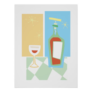 Retro Wine and Glass #1 Poster