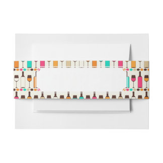 Retro wine bottles and glasses invitation belly band
