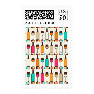 Retro wine bottles and glasses postage
