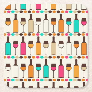 Retro wine bottles and glasses square paper coaster
