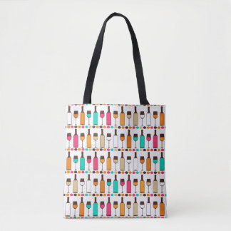 Retro wine bottles and glasses tote bag