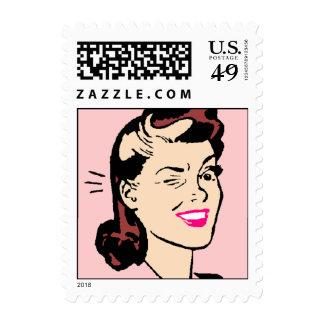 Retro Wink Secrets or In The Loop Postage Stamp