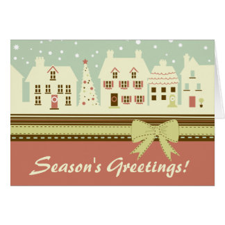 Retro Winter Holiday House Scene Christmas Card