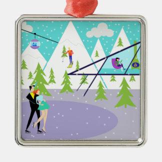 Retro Winter Ski Resort Christmas Ornament