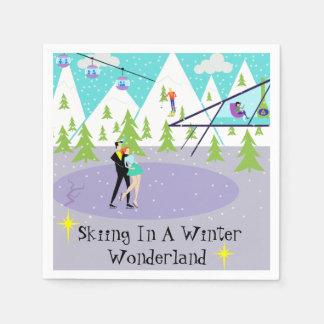 Retro Winter Ski Resort Disposable Napkins