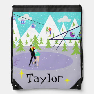 Retro Winter Ski Resort Drawstring Backpack
