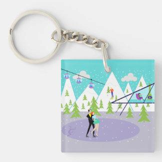 Retro Winter Ski Resort Key Chain