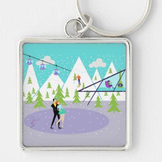 Retro Winter Ski Resort Keychain