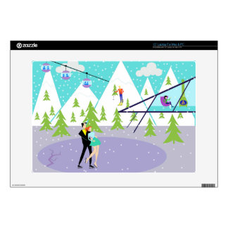 Retro Winter Ski Resort Laptop Skin