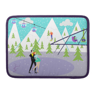Retro Winter Ski Resort MacBook Pro Sleeve
