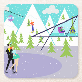 Retro Winter Ski Resort Paper Coasters