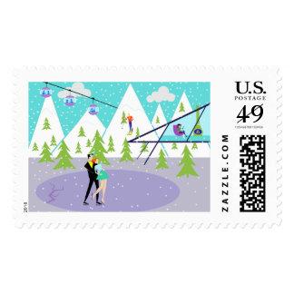 Retro Winter Ski Resort Postage Stamps