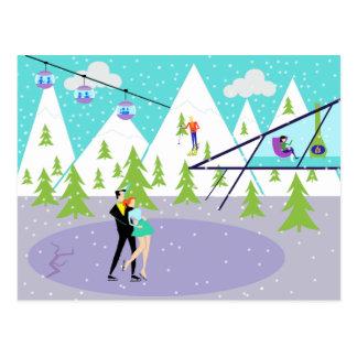 Retro Winter Ski Resort Postcard