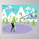 Retro Winter Ski Resort Poster