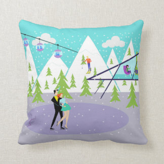 Retro Winter Ski Resort Throw Pillow