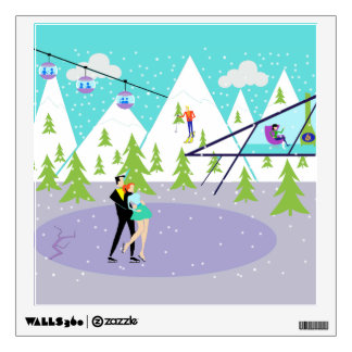 Retro Winter Ski Resort Wall Decal