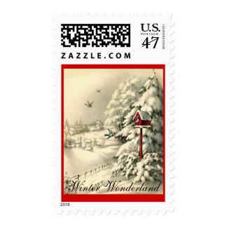 Retro Winter Wonderland Red Birdhouse & Birds Postage